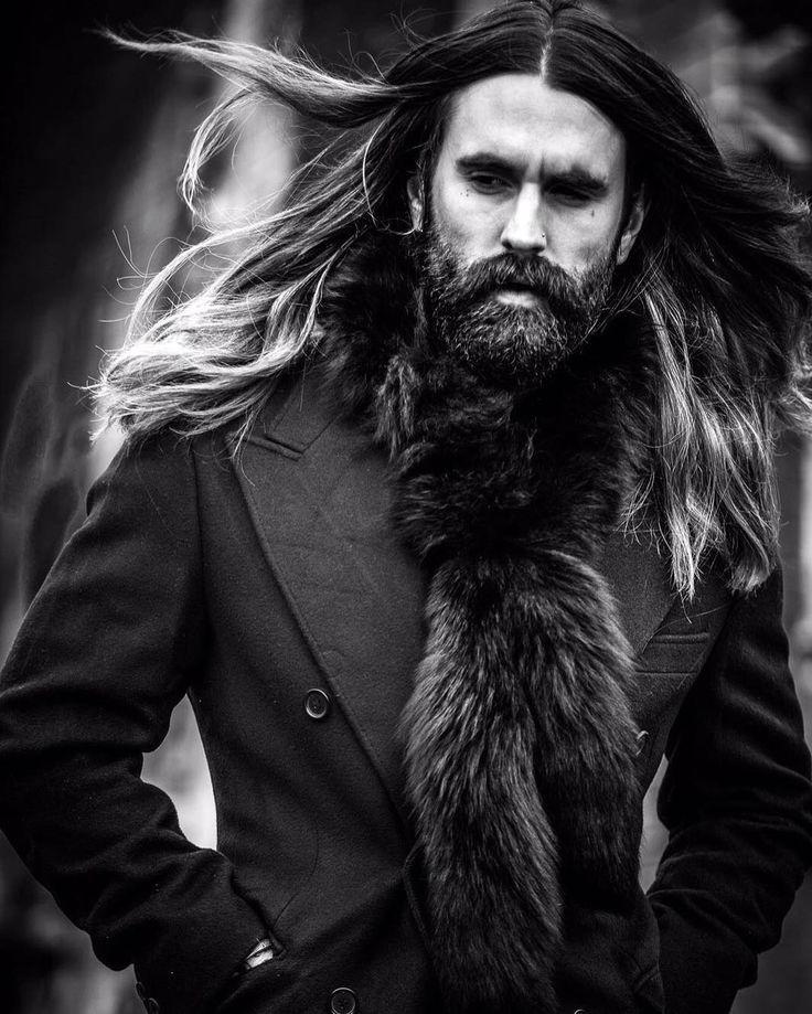 Ricki Hall - full thick dark beard mustache beards bearded man men mens' style fall winter fashion clothing fur long hair bearding #beardsforever