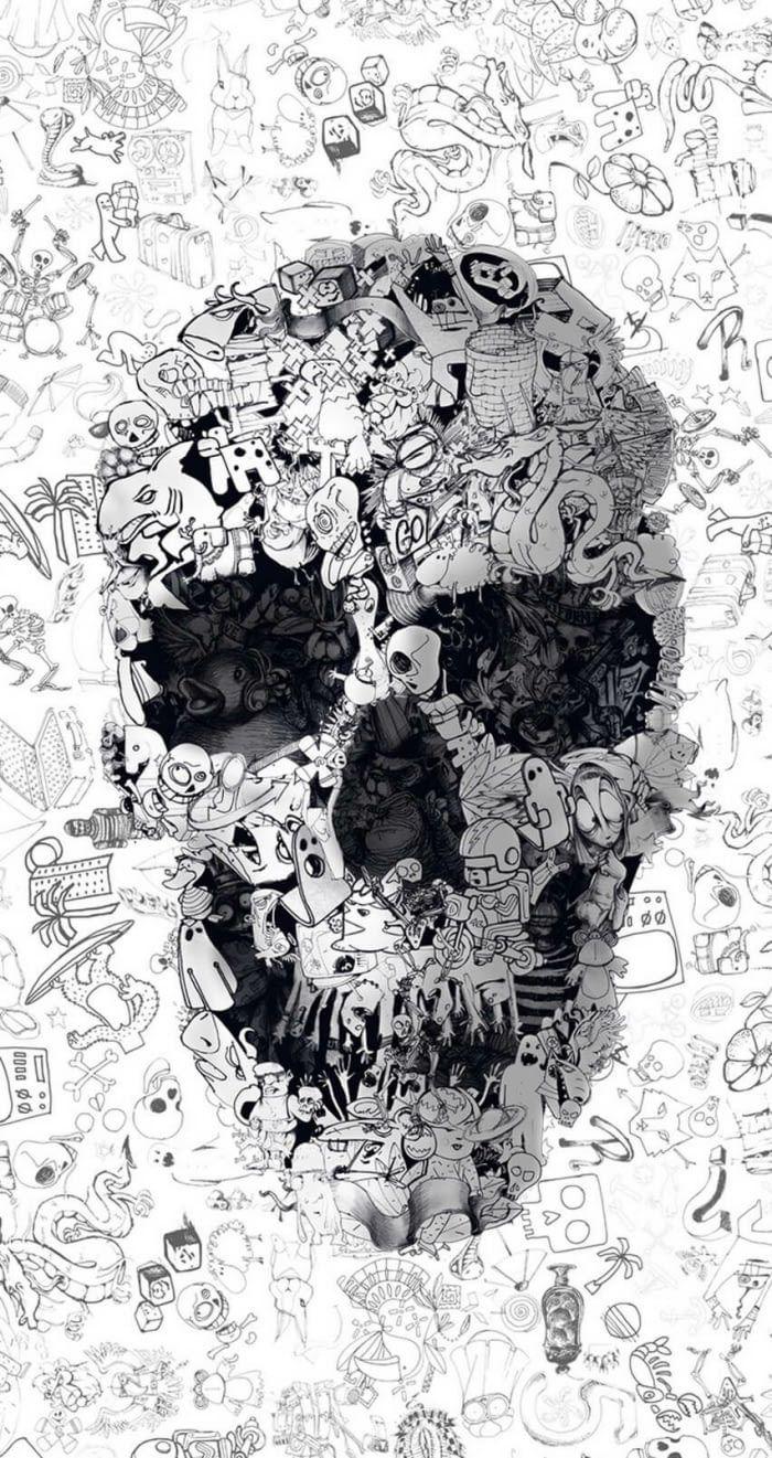 Doodle Skull Skull Wallpaper Graffiti Wallpaper Graphic Art Print