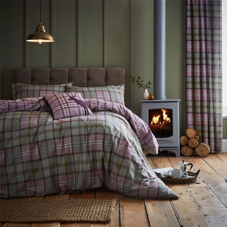 Catherine Lansfield Heritage Kelso Check Heather Duvet Set #RapportHome #Contemporary