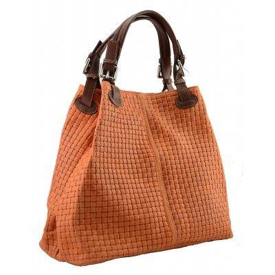 Italian Made, Genuine Leather Sholderbag / Handbag - Tess Orange Sky