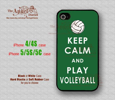 Keep Calm and Play Volleyball, iPhone 4/4S Case, iPhone 5 Case, iPhone 5S Case, iPhone 5C Case, Hard Plastic/ Soft Rubber Case, Personalized on Etsy, $5.99