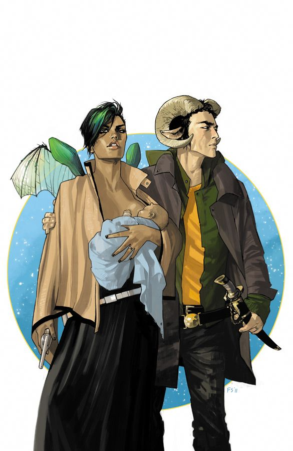 Saga.  From Image comics. Beautiful artwork from Fiona Staples.   Written by Brian K. Vaughan