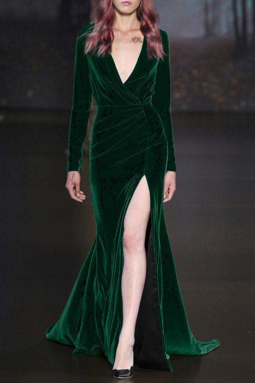 Long Sleeve High Slit Velvet Prom Dress $23.49