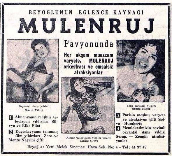 Mulenruj Pavyonu. Moulin Rouge Night Club Istanbul vintage ad.