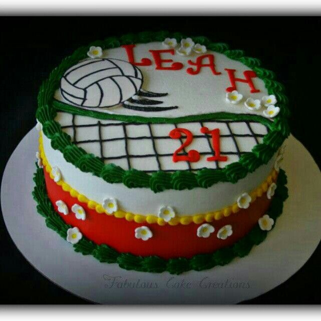 Volleyball cake with my name on it! Cute cute