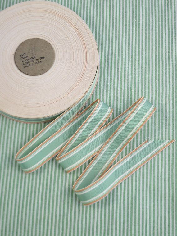 1Y Vintage Stripe Grosgrain Ribbon Seafoam by pinksewingmachine