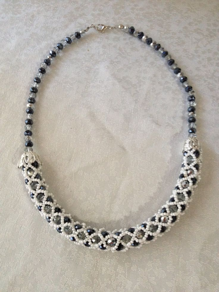 Beadwoven White Smoked Silver Necklace Seed Bead by Butik724 on Etsy