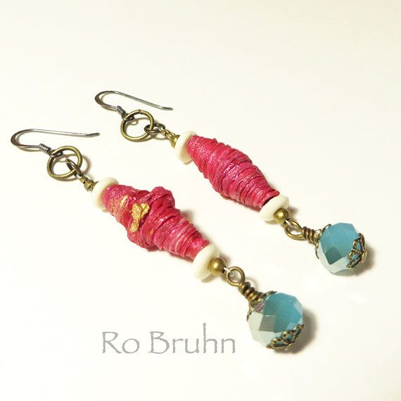 Magenta and blue hand made earrings by robruhn on Etsy, $30.00