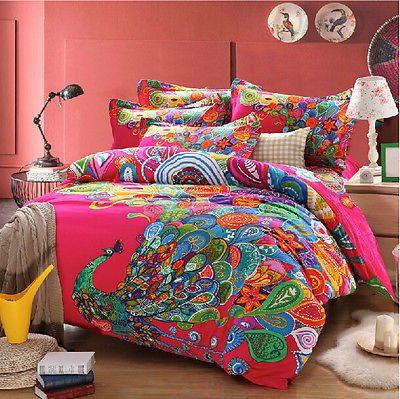 Details About Peacock Print Bedding Sets Bohemian Duvet