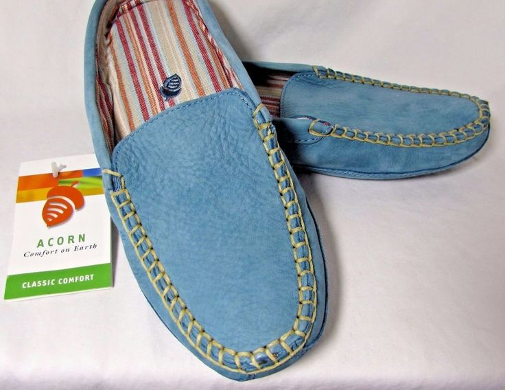 Ladies 9 Light Blue Acorn Dakota Bareback Suede Leather Slippers Mules New w Tag #Acorn #Slippers
