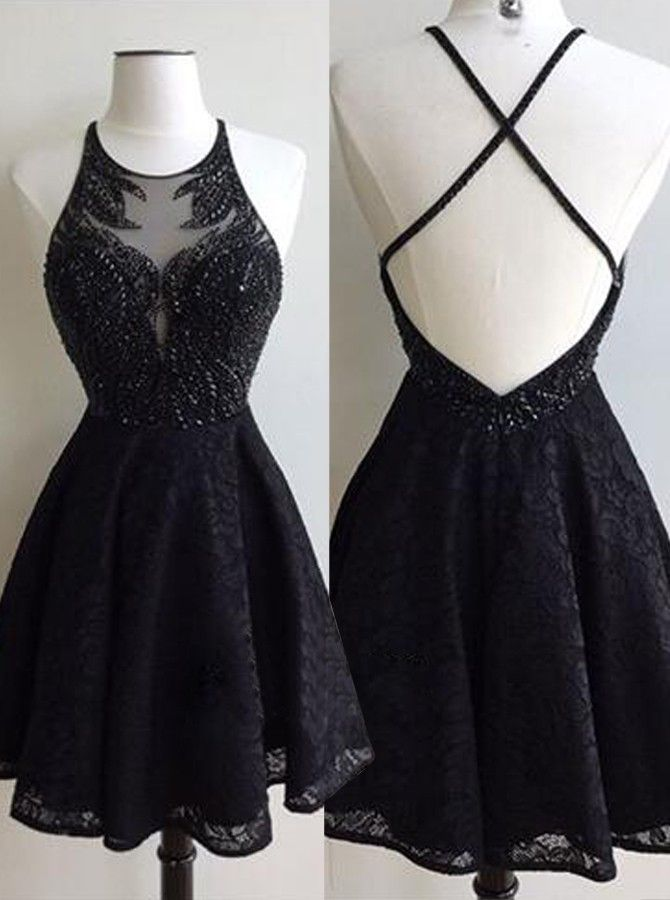 Glamorous Jewel Short Black Lace Homecoming Dress with Beading Backless Criss-Cross Straps