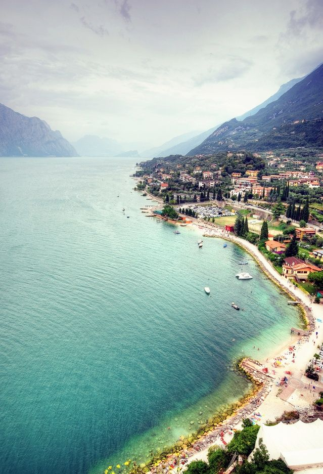 Lake Garda - one of the most beautiful places on earth a huge fresh water lake under the italian alps and surrounded by wine vineyards