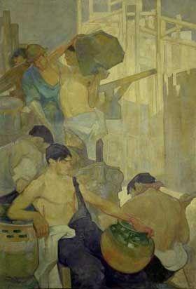 Saturnino Herrán, Alegoría de la construcción (díptico, sección izquierda), 1911, óleo sobre bastidor transportable, 273 x 185 cm., mural para le Escuela de Artes y Oficios,