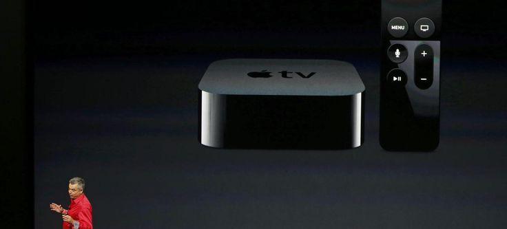 Eddie Cue, vice-president d'Apple, présente l'Apple TV, mercredi à San Francisco.
