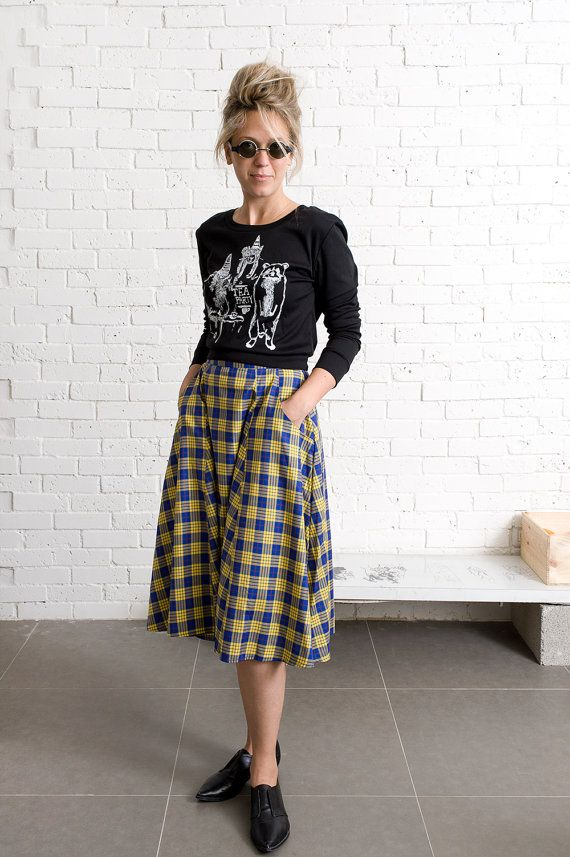 Yellow plaid midi skirt / High waisted 90's Grunge skirt | 90s ...