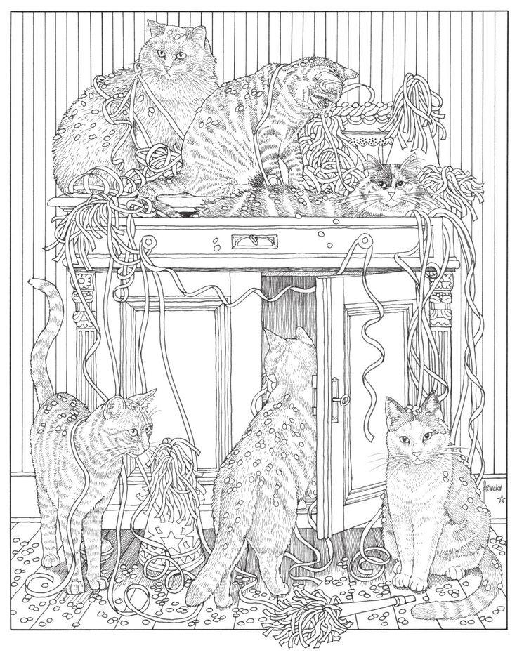 Inkijkexemplaar Franciens kattenkleurboek - Francien van Westering  Franciens katten, wie kent ze niet? 8 fraaie kattenposters op A3-formaat sieren dit kleurboek van illustratrice Francien van Westering. Elke kleurplaat bevat veel details voor uren kleurplezier. Ga aan de slag en kleur je eigen kattenprent. Inclusief kleurvoorbeeld bij elke kleurplaat voor extra kleurinspiratie.