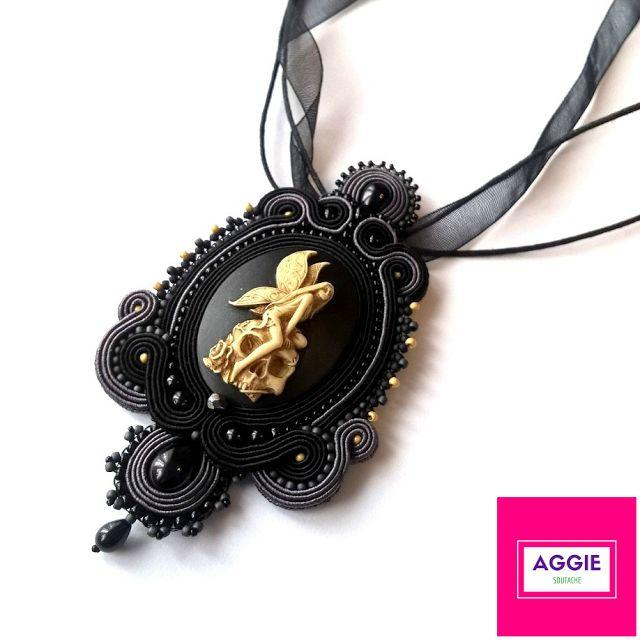 """Gotycki wisior Mroczna wróżka. Gothic soutache pendant """"Dark fairy"""""""