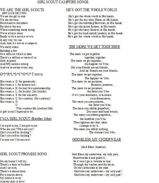 girl scout songs banana song lyrics