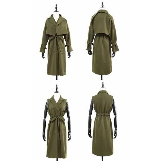 2WAYトレンチコート ショート丈袖付きケープとノースリーブコートのセット 3