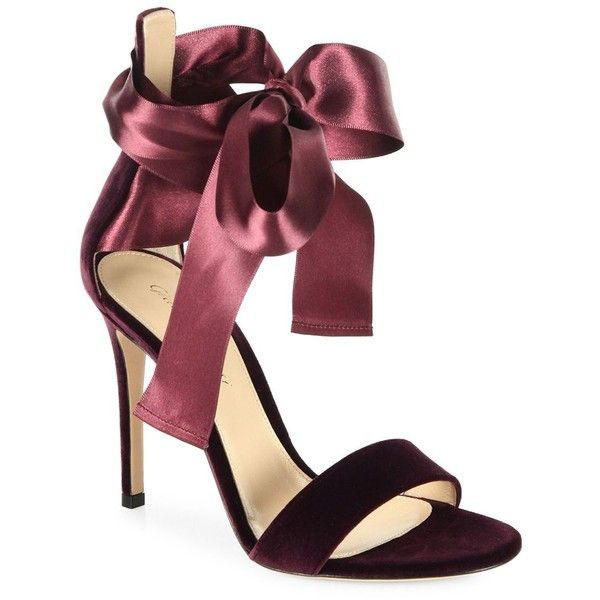 Gianvito Rossi Velvet Satin Bow Sandals ($895) ❤ liked on Polyvore featuring shoes, sandals, open toe sandals, self tying shoes, ankle tie sandals, ankle tie shoes and ankle strap shoes