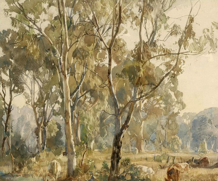 Hans Heysen (1877 — 1968, Australia) Young Gums, Ambleside. 1918 watercolour on paper. 32.5 x 40 cm. (12 13/16 x 15 3/4 in)