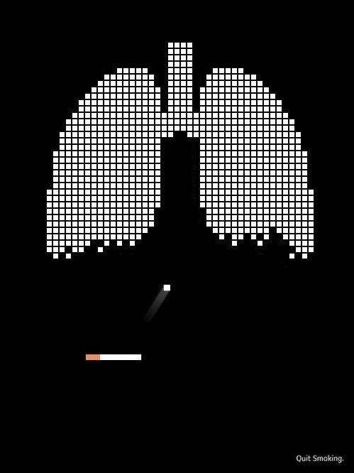 This advertisement is making a statement about the effects of smoking through the use of a metaphor. By pixelating the lungs, using the cigarette as a cursor and adding the bouncing ball, this ad is referring to the Atari video game Breakout. Smoking is like a game. Everytime you smoke, a piece of your lungs is destroyed, as shown by the dwindling blocks of the lungs. Eventually - the game is over.