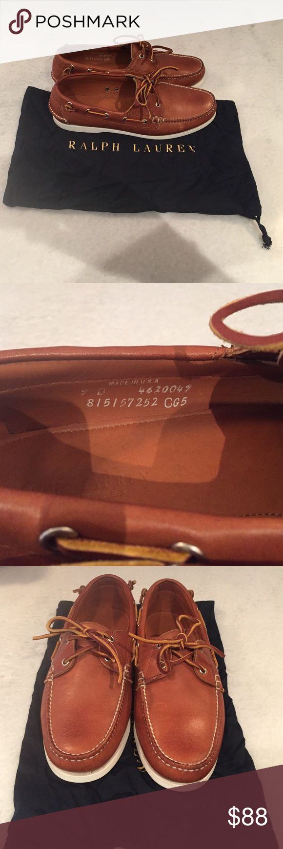 Ralph Lauren Laced Boat Shoe Ralph Lauren Camel Brown Boat Shoe. Worn once basically brand new. High Quality Leather with dust bags Ralph Lauren Shoes Boat Shoes