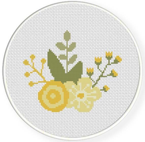 INSTANT DOWNLOAD Stitch Spring Flower Yellow PDF Cross Stitch Pattern Needlecraft
