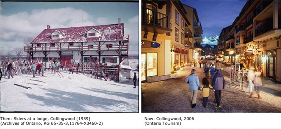 Image of the Blue Mountain Village, then and now