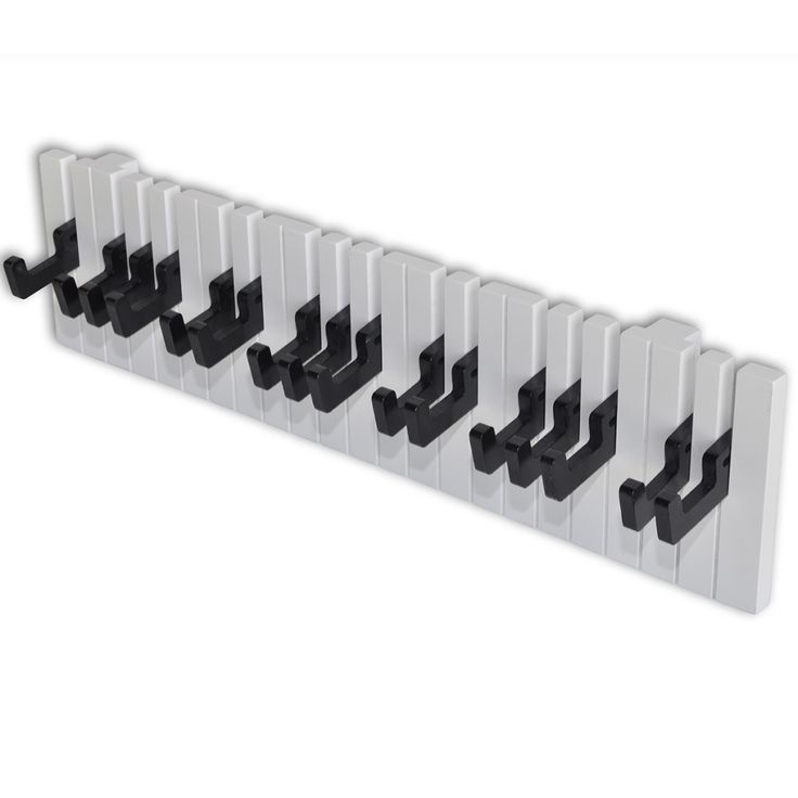 Zongora billentyűzet tervezésű falra szerelhető fogas 16 fekete kampóval