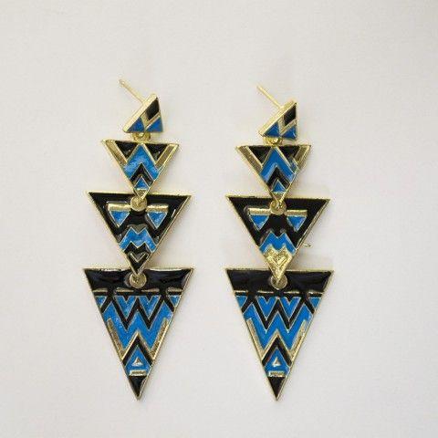 Boucle d'oreille triangle motif azteque.