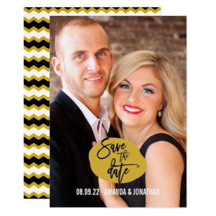 Black white and gold Chevron Wedding Save Date Card - gold wedding gifts customize marriage diy unique golden