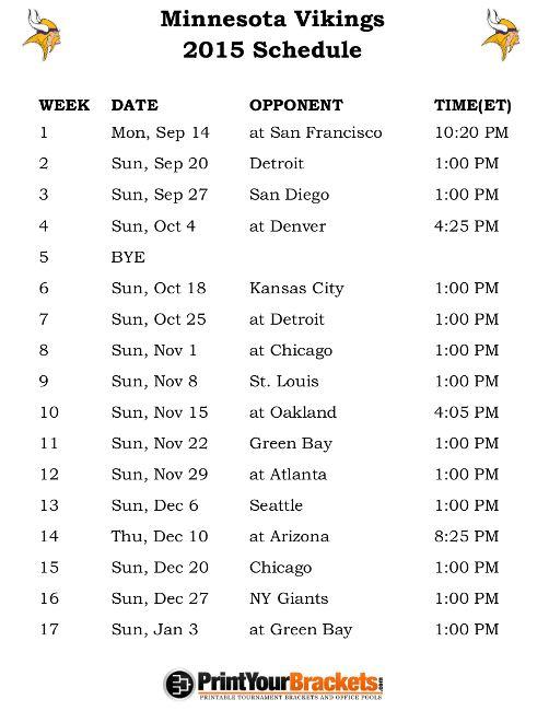 Printable Minnesota Vikings Schedule - 2015 Football Season