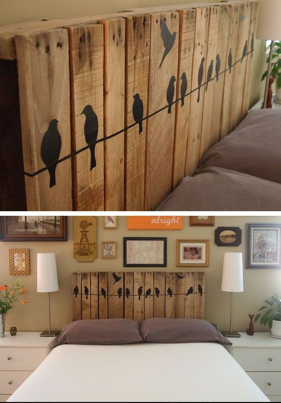 Best 25 wood pallet headboards ideas on pinterest for Diy small bedroom decor ideas
