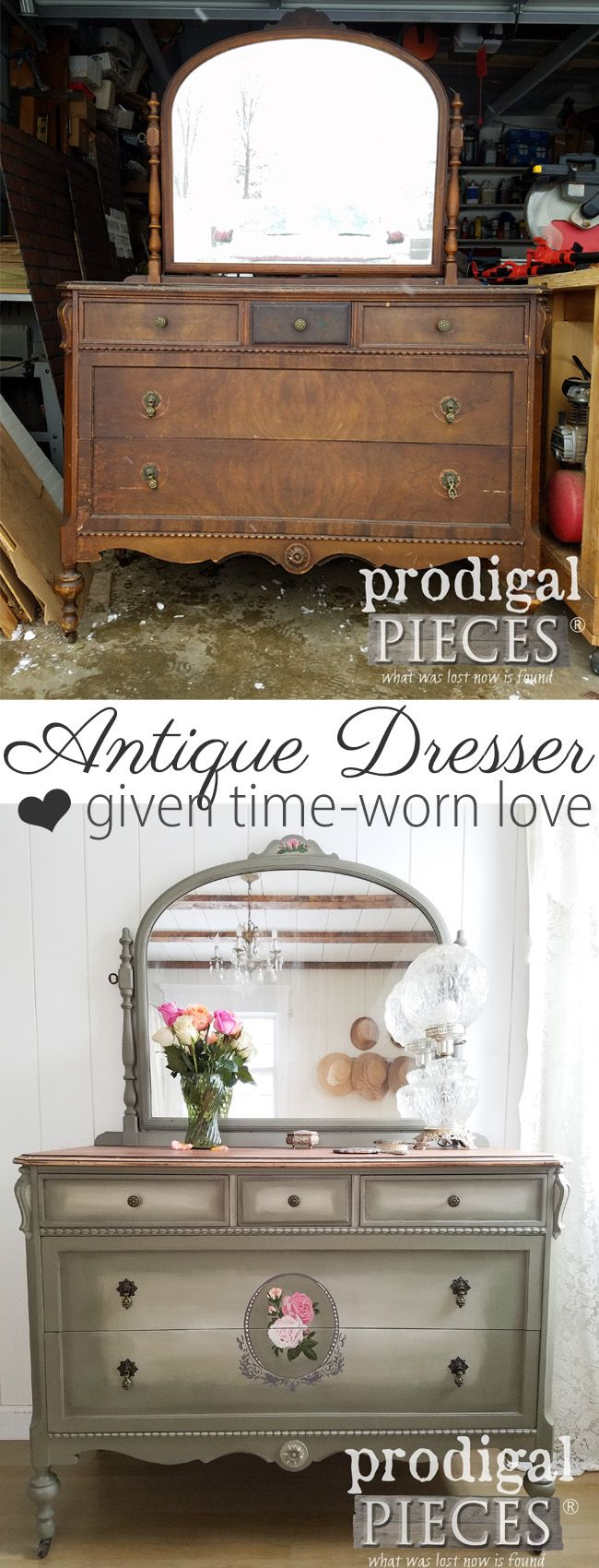 A tired and worn antique dresser gets the new look of a lifetime. Larissa of Prodigal Pieces tackles the damage to bring it new life. Read the story at prodigalpieces.com #prodigalpieces #furniture #bedroom