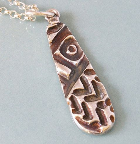Textured and Patinated Silver Pendant by SaSousaDesigns on Etsy