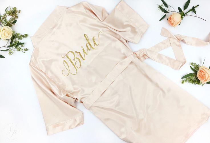 Bride Robe - Wedding Day Robe - Glitter Bridal Robe - Bride Satin  - Lingerie Shower Gift - Bridesmaid Robe -Blush Robe- Maid of Honor Robe by ShadesOfPinkBtq on Etsy https://www.etsy.com/listing/456876524/bride-robe-wedding-day-robe-glitter