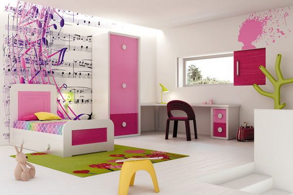 Modern Pink Girls Bedroom With Music Wall Decoration Best