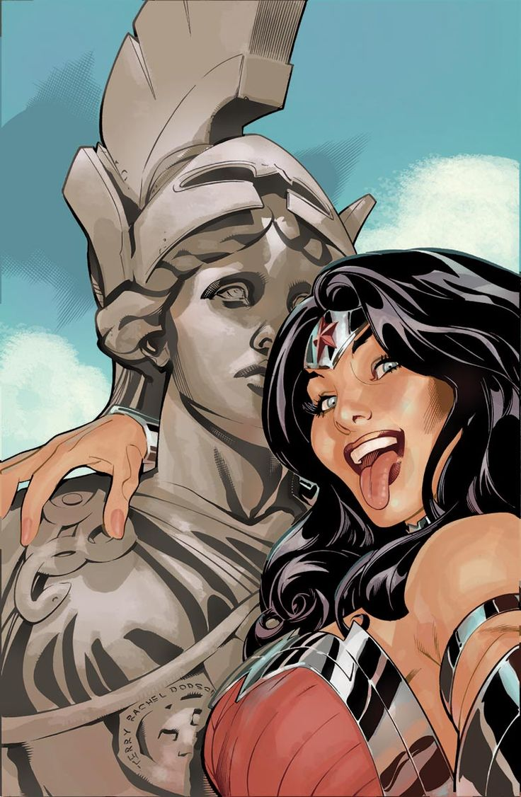 "Wonder Woman #34 by Rachel and Terry Dodson (Really Diana?! You're f*cking Wonder Women!! And you're taking a ""selfie"".......... With your tongue out."