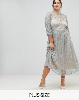 c9ddd2cae28 Little Mistress Plus All Over Lace Maxi Dress With Balloon Sleeve Detail