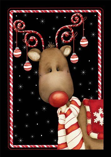 Jolly Christmas Reindeer Flag with Candy Canes and Christmas Tree decorations hanging from his antlers.