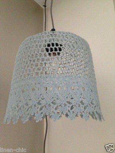 Unique Crochet Lace Lampshade Swag Pale Blue Gray So Shabby Chic Romantic Glow   eBay