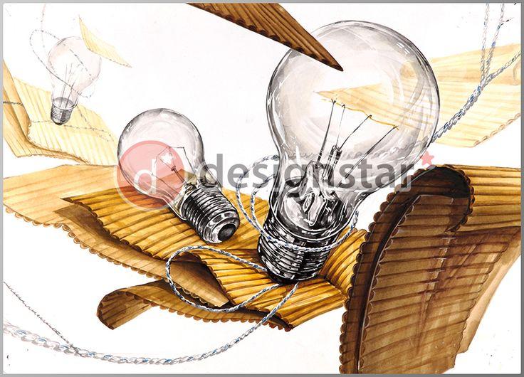 http://blog.naver.com/design-star #디자인스타, #미술학원, #기초디자인, #전구, #골판지