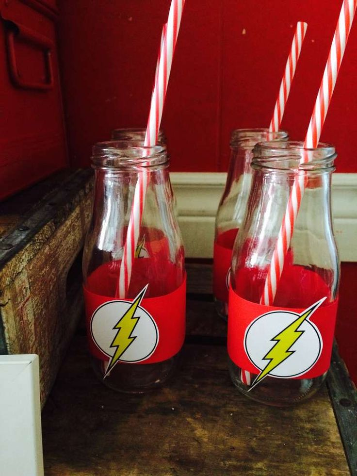 Drinks and paper straws at a Flash birthday party! See more party ideas at CatchMyParty.com!