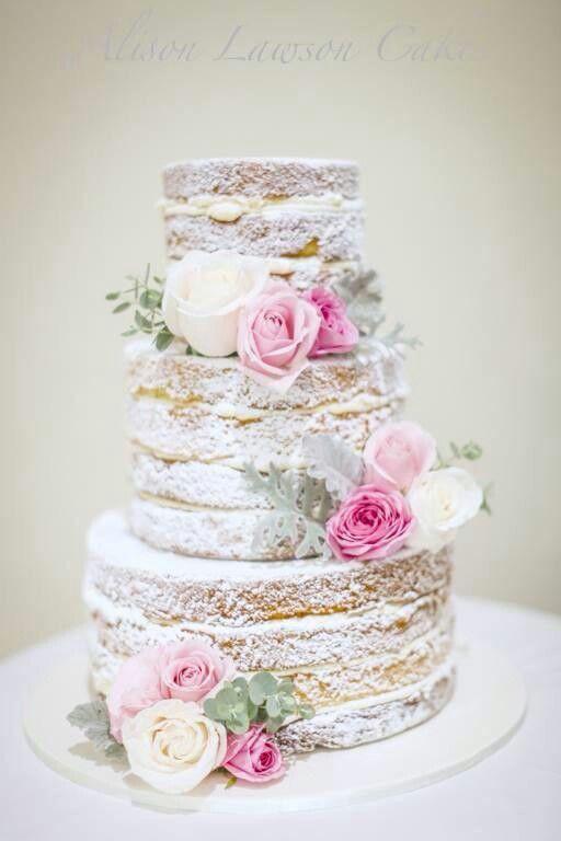 Pink and white naked wedding cake