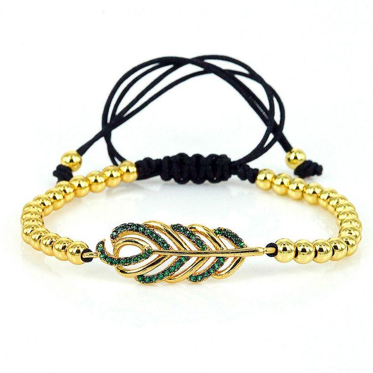 24k gold plated copper beads with leaf pave green CZ zircon macrame bracelet