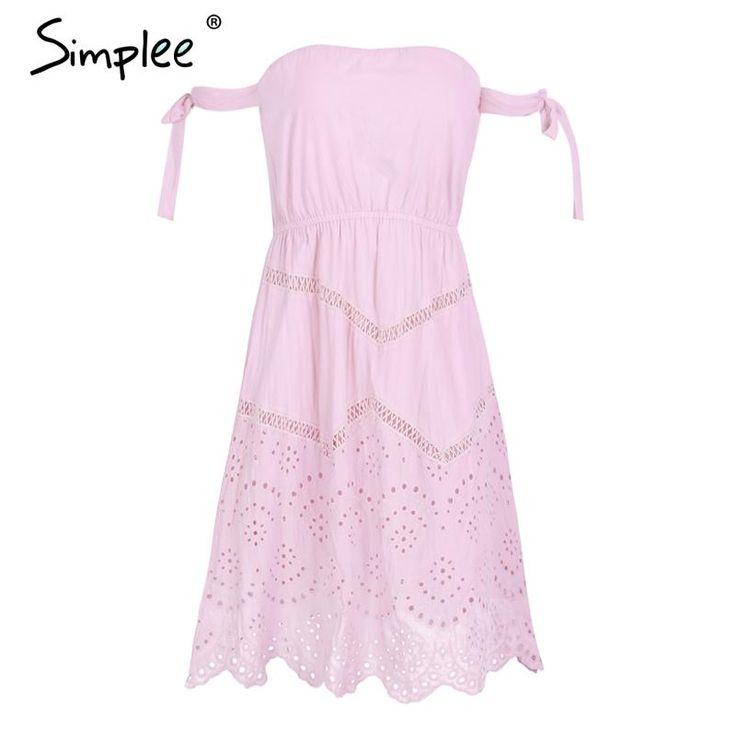 Tie up strapless autumn dress women Hollow out solid midi dress winter casual street wear pink dress
