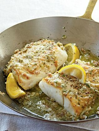 Roast Cod with Garlic Butter Recipe - VERY easy and good; would make again. Use real lemon (and less of it), more garlic, and maybe dust the cod in floor before cooking. Also, a drizzle of oil ontop of the fish before baking.