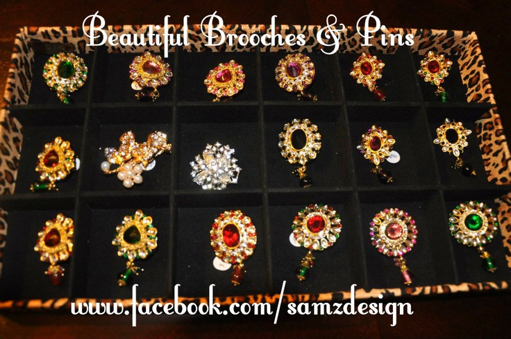 Beautiful Indian inspired brooches and pins. Can be used on sari, dupatta, sweaters, and hair
