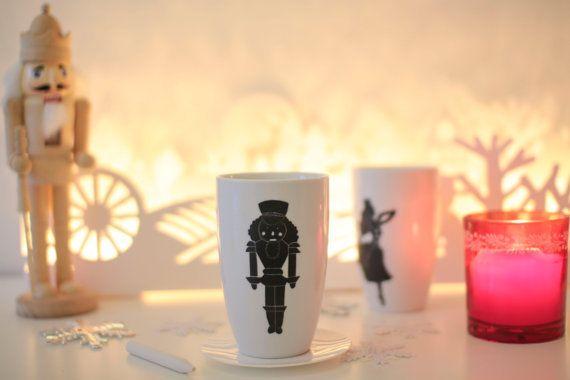 Tasse Casse Noisettes ballet porcelaine peinture ardoise Noël idée cadeau noir et blanc cuisine: